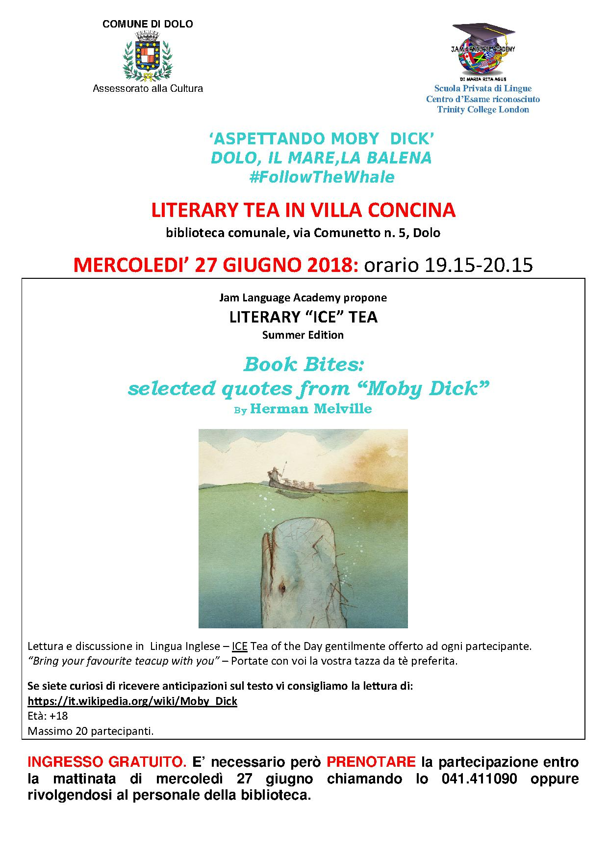 'LITERARY TEA IN VILLA CONCINA. LETTURE E DISCUSSIONI IN LINGUA INGLESE'