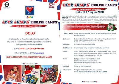 'CITY CAMPS. ENGLISH CAMPS. THE ENGLISH FULL IMMERSION' E INCONTRO CON I GENITORI